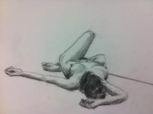 Lars-af-Sillen-kroki-liggande-blyerts-naken-kvinna-konst