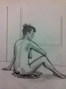 Lars-af-Sillen-kroki-sittande-blyerts-naken-kvinna-konst