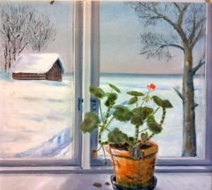 Lars-af-Sillen-pelargon-fonster-olja-sno-vinter-konst