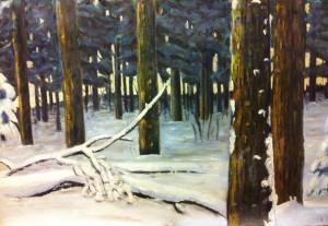 Lars-af-Sillen-skog-olja-sno-vinter-konst