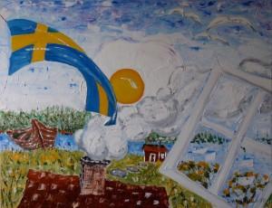 Lars-af-Sillen-stuga-olja-agg-flagga-konst